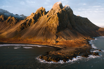 Stokksnes Beach in Iceland during Sunset