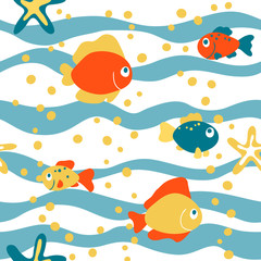 vector fish sea cartoon bubble star wave cute seamless pattern