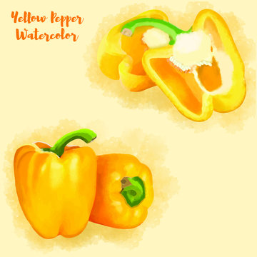 Yellow Pepper Hand Painted Watercolor