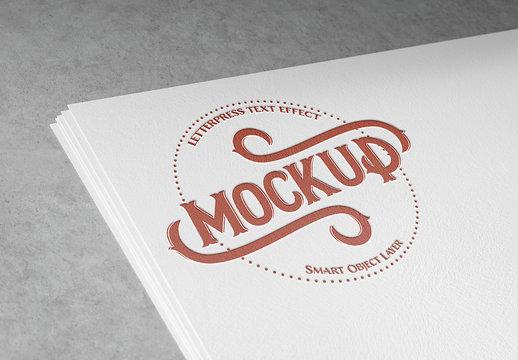 Red Letterpress Text Effect Mockup
