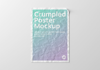 Crumpled Poster Isolated on White Mockup