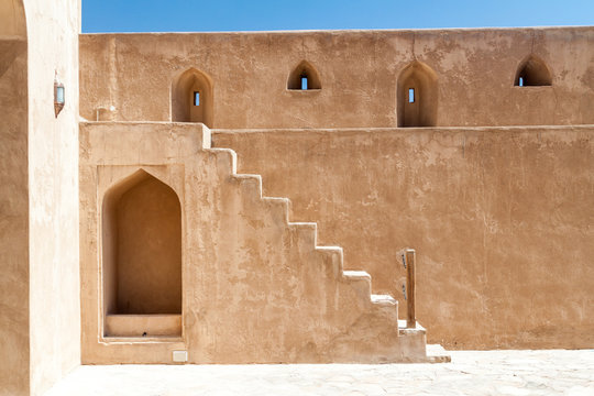 Wall and a staircase of the Jabrin Castle, Oman