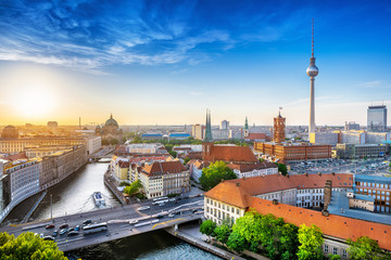 panoramic view at central berlin while sunset