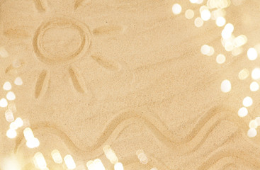 travel, tourism and summer vacation concept - picture of sun and sea waves in sand on beach