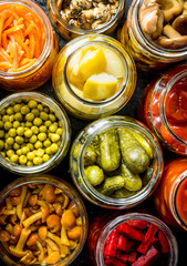 Variety of homemade pickled food.