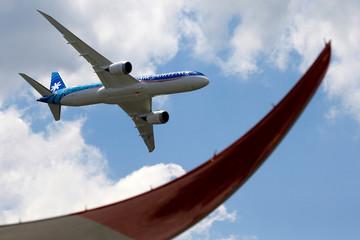 An Boeing 787-9 Dreamliner of Air Tahiti Nui performs during the 53rd International Paris Air Show at Le Bourget Airport near Paris