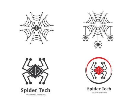 spider technology logo vector icon illustration