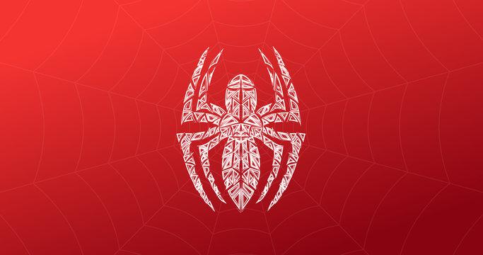 Spider symbol, grunge spider logo banner, poster design.