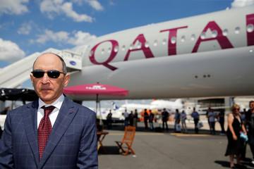 Qatar Airways Chief Executive Officer Akbar Al Baker is seen during the 53rd International Paris Air Show at Le Bourget Airport near Paris
