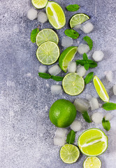 Fototapete - Fresh lime, mint and ice on grey background.