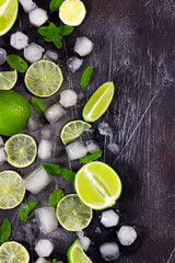 Fototapete - Fresh lime, mint and ice on dark background.