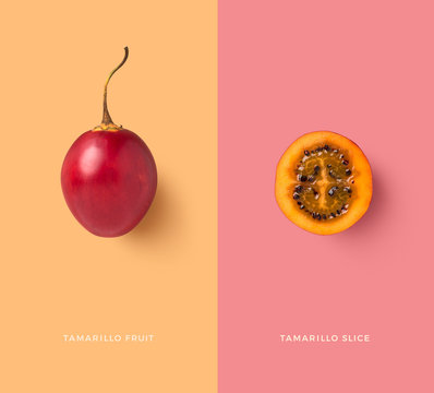 creative food / nutrition / diet concept with isolated exotic tamarillo fruit and slice, minimalist colorful graphic layout