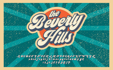Bewerly Hills. Summer time. Retro 3d font in 80s style. Vintage typography. Summer font set.