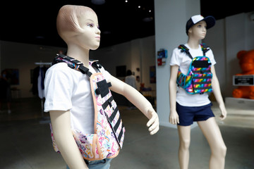 "Mannequins wearing a bullet proof vests are seen as part of an art installation by artist WhIsBe titled ""Back to School Shopping"" to illustrate the dangers of gun violence in schools, at a gallery in New York City"