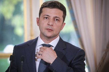 Ukraine's President Volodymyr Zelensky attends a news conference following his meeting with French President Emmanuel Macron at the Elysee Palace in Paris