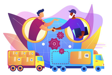 Worldwide shipping service, international distribution. Collaborative logistics, supply chain partners, freight cost optimization concept. Bright vibrant violet vector isolated illustration Wall mural