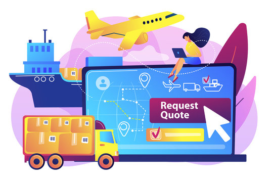Customer choosing order delivery type, global distribution. Freight quote request, best shipping proposal, freight cost request form concept. Bright vibrant violet vector isolated illustration