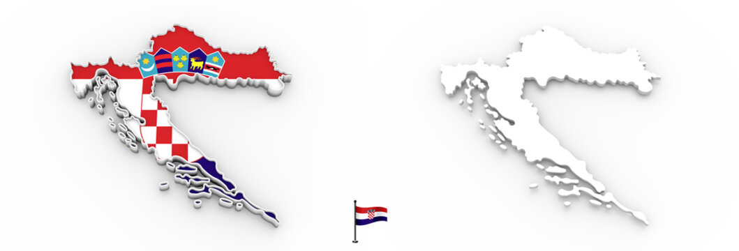 3D map of Croatia white silhouette and flag
