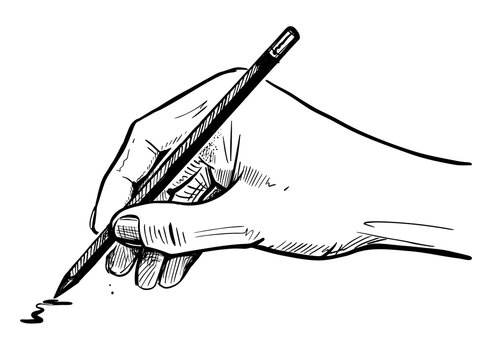 male hand draws a sketch on the pencil