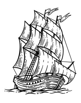 Black and white sketch of sailing old ship