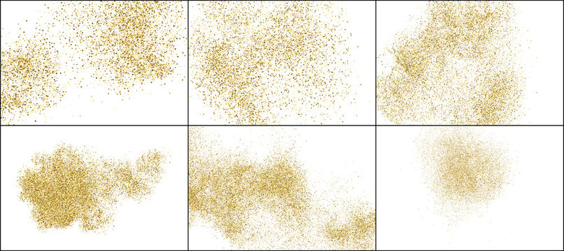 Set of Gold Glitter Texture Isolated on White. Golden Explosion of Confetti. Amber Particles Color. Celebratory Background. Vector Illustration, EPS 10.