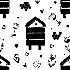 Wall Mural - Vector nature seamless background with flowers, beehives, and honey combs. Doodle style cartoon floral illustration.