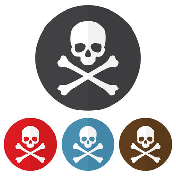 Set of skull and crossbones icon on a colorful circles. Vector illustration