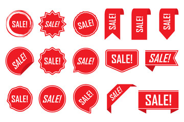 Red labels, red isolated on white background, vector illustration