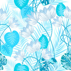 Vector tropical jungle seamless pattern with blue palm tree leaves and flowers