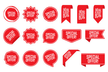 Special offer tag set in red. Vector illustration