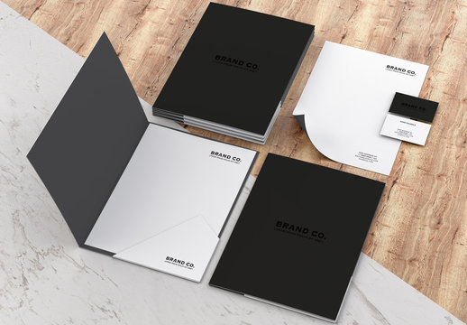 Mockup Stationery Kit on Wood and Marble