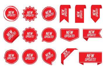 New update tag set in red. Vector illustration