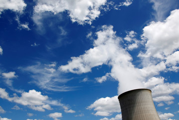 Cooling towers of Electricite de France (EDF) nuclear plant are seen in Saint-Laurent-Des-Eaux near Orleans