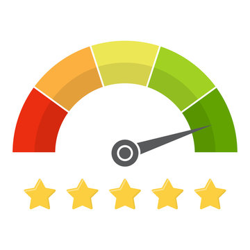 Customer satisfaction meter with star rating. Vector illustration