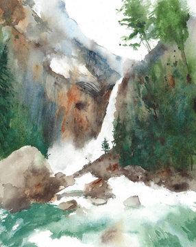 Waterfall Yosemite national park recreational area American nature landscape watercolor painting illustration