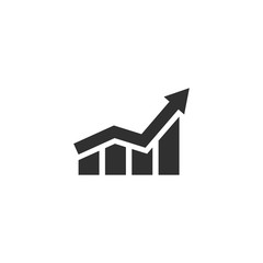 Growing graph icon in simple design. Vector illustration
