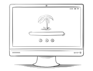 PC Monitor Vector Drawing.