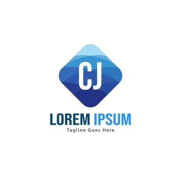 Initial CJ logo template with modern frame. Minimalist CJ letter logo vector illustration