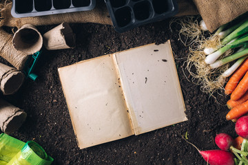 Book of secrets on organic homegrown produce cultivation, top view