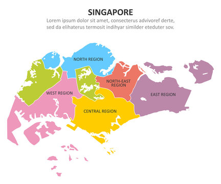 Singapore multicolored map with regions. Vector illustration