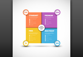Colorful Product List Grid Layout