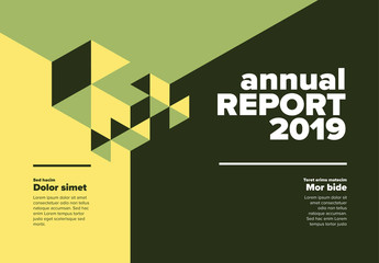 Geometric Horizontal Annual Report Cover Layout with Green and Yellow Elements