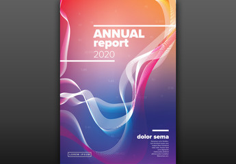 Abstract Annual Report Cover Layout with Bright Colors