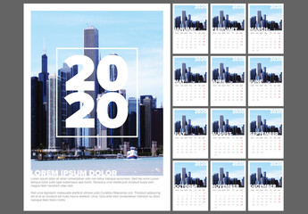 Full Year Calendar Layout with City Photograph Element