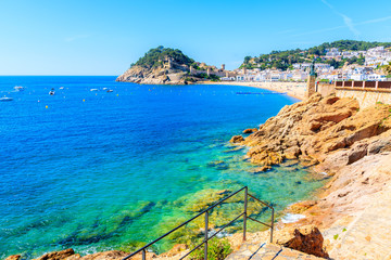 Fototapete - Rocks in sea bay in Tossa de Mar town, Costa Brava, Spain