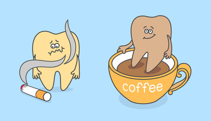 Cartoon tooth with cigarette and cup of coffee.