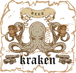 vector image of a vintage beer label with a picture of kraken on a barrel with a beer mug in the style of an old engraving