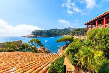 Wall Mural - View of sea in picturesque port of Fornells village, Costa Brava, Spain