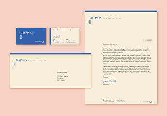 Stationery Set with Tan and Blue Elements