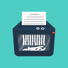 Shredder machine. Paper shredder. Destruction of documents. Cartoon style. Vector illustration flat design. Isolated on background. Information protection.